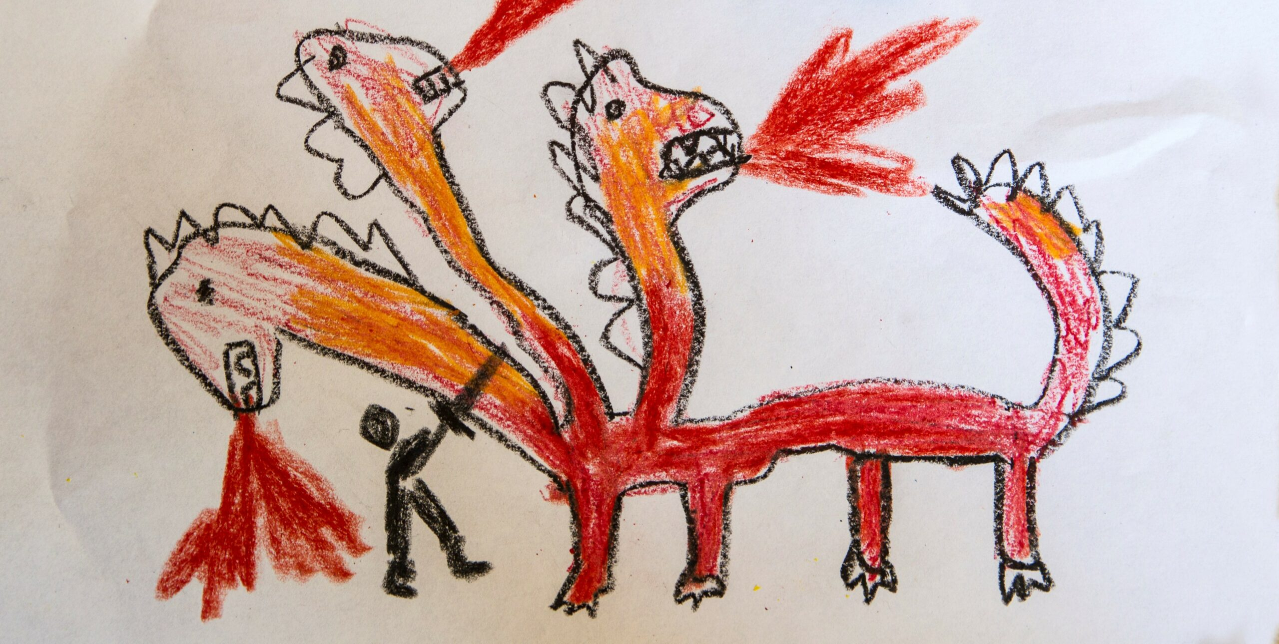 Child's drawing, dragon and knight